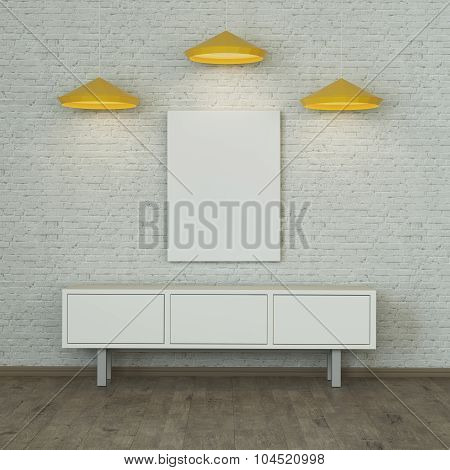 White Room Interior With A Brick Wall.3D Rendering