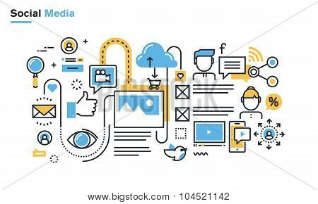 Flat line illustration of social media