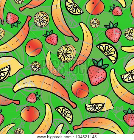 Bright seamless wallpaper with fruits
