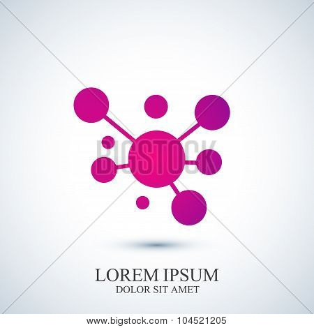 Modern logotype icon dna and molecule. Vector template for medicine, science, technology , chemistry