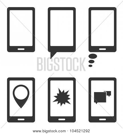 smart phone with speech splash star and point marker bubbles