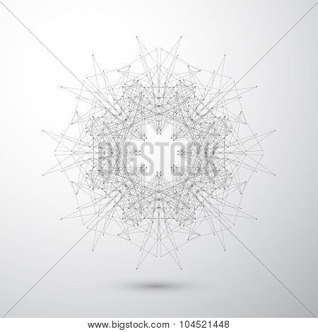 Geometric abstract form with connected lines and dots. Tecnology gray background for your design . V