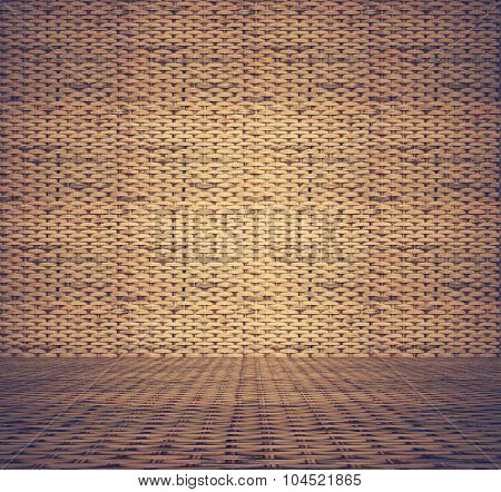 old room, rattan texture background, retro film filtered, instagram style