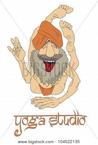 Funny Indian Yogi Man