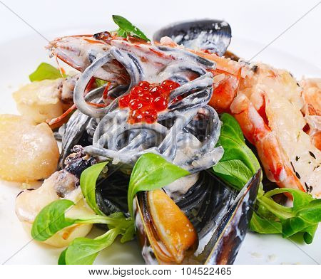 The Black Spaghetti With Seafood Closeup