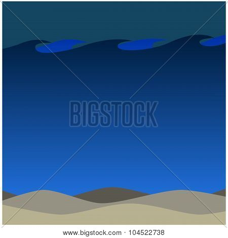 Deep Waters Beach in The Night Background Ecosystem Artwork