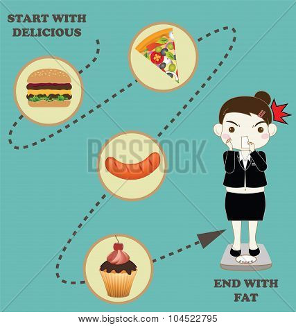 Fat Overweight Business Woman Background