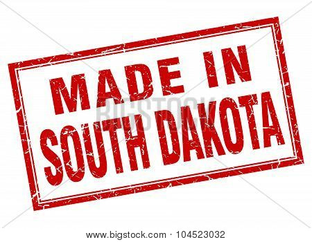 South Dakota Red Square Grunge Made In Stamp