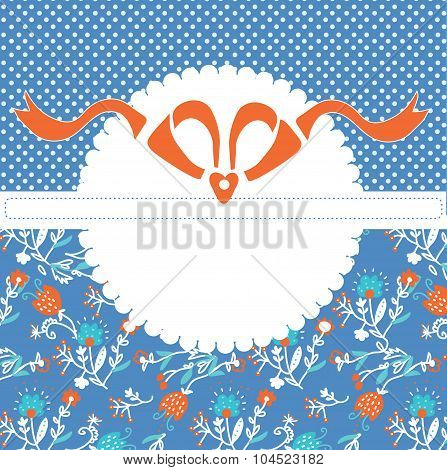 Greeting Card Template With Frame And Pattern With Bow