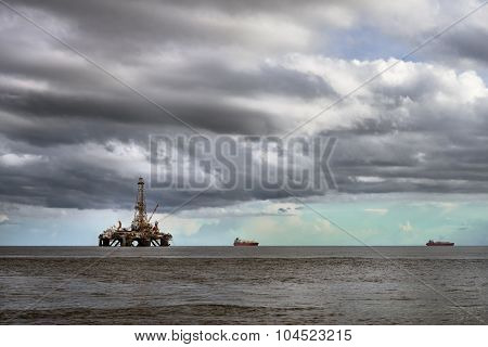 Offshore oil rig platform at sea petroleum industry