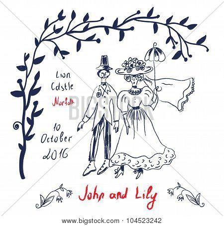 Retro Wedding Invitation In Sketchy Style