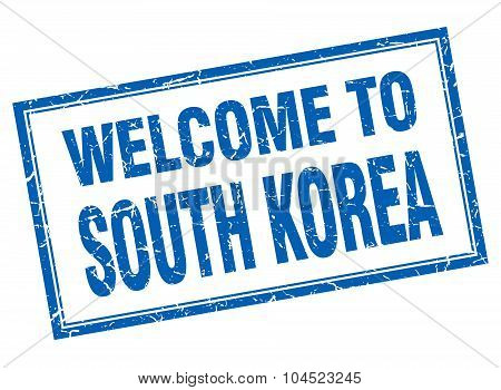 South Korea Blue Square Grunge Welcome Isolated Stamp