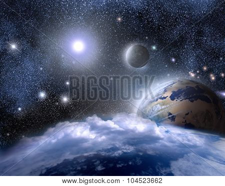 Planets Of Life And Moon