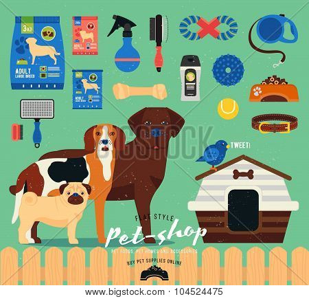 Pet shop set. Grooming icons set. Flat  illustration of accessories, toys, goods for care of pets. S