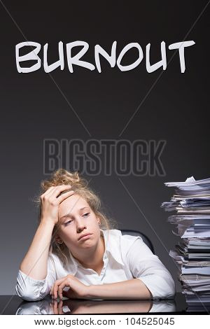 Burnout Female Office Worker