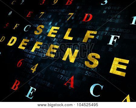 Safety concept: Self Defense on Digital background