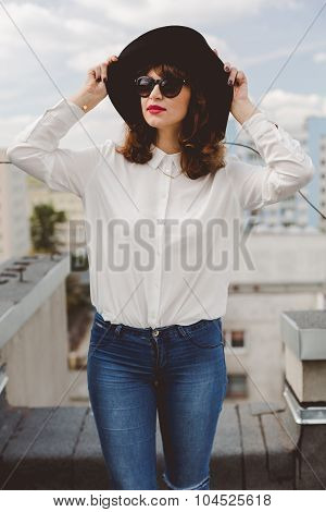 Attractive Woman In Trendy Hat