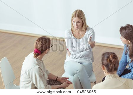 Despair Woman Talking With Coach