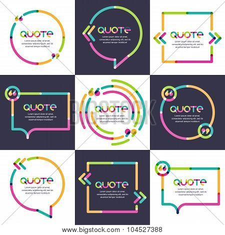 Vector Set Of Quote Forms Template. Multicolor Trendy Background.