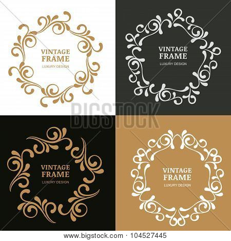Set Of Vector Vintage Flourish Frames. Ornamental Background.