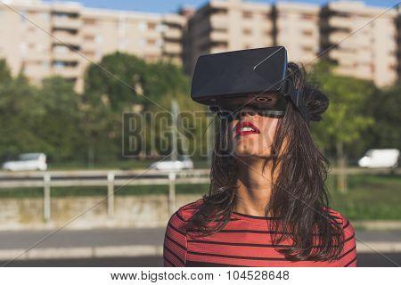 Beautiful Young Woman Wearing Virtual Reality Headset
