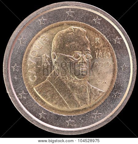 Commemorative Two Euro Coin Issued By Italy In 2010 And Depicting The Portrait Of Count Of Cavour