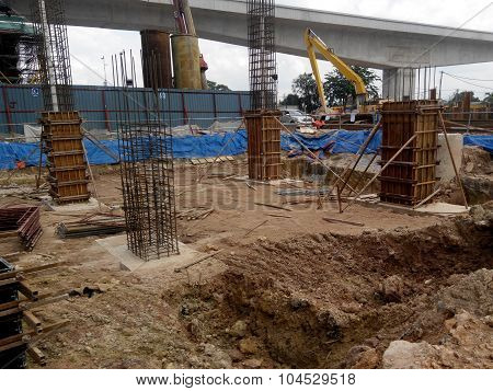 Timber column formwork under construction at the construction site