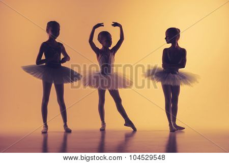 Three little ballerinas in dance studio
