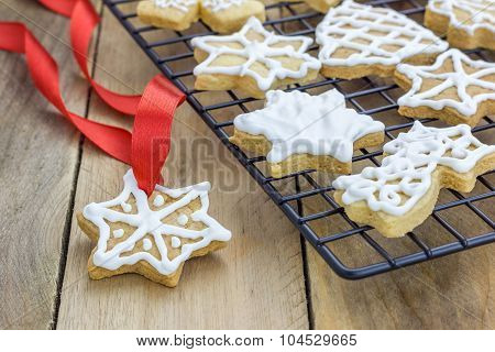 Fresh Homemade Shortbread Cookies On A Cooling Rack