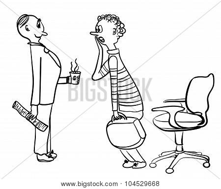 HR Specialist meets candidates at a job interview comic vector illustration