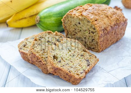 Loaf Of Homemade Banana Zucchini Bread With Walnuts