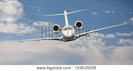 Frontal view of a private jet