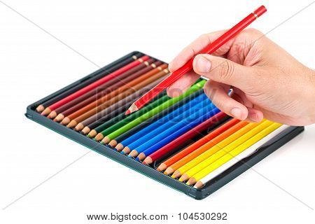 Man holding a coloring pen