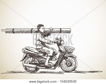 Man on motorcycle carrying long sticks, Hand drawn illustration, Vector sketch