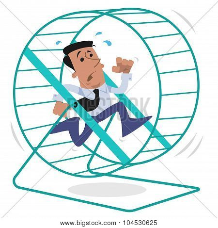 Corporate character running on a hamster wheel