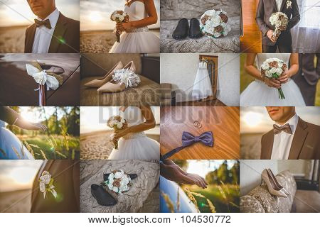 Wedding set collection kit decorations bouquet and rings shoes