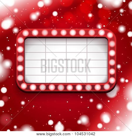 Red Christmas poster with light sign and white frame
