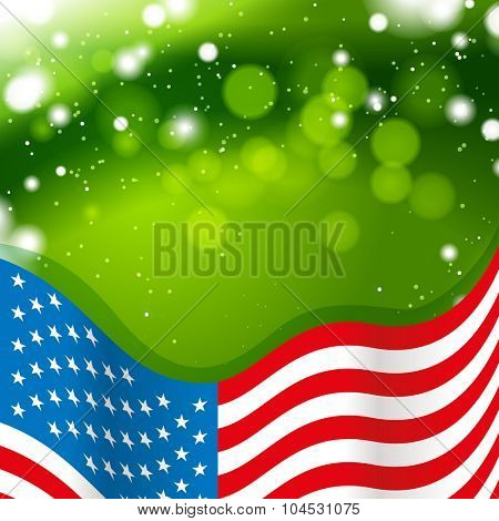 USA flag with green background
