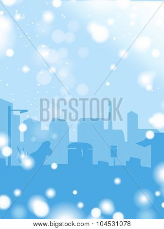 Abstract background of winter in a town