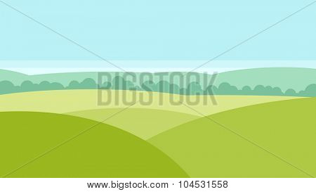 Vector landscape with green fields