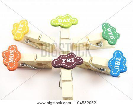 Business Day Tag On Wooden Paper Clips