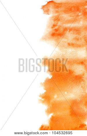 Orange watercolor brush strokes - abstract background with space for your own text