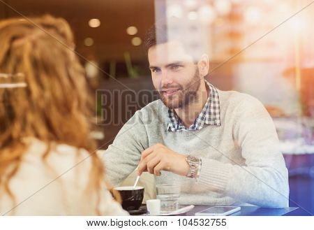 Young couple in cafe
