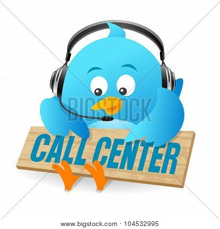 Blue Bird Call Center Sign