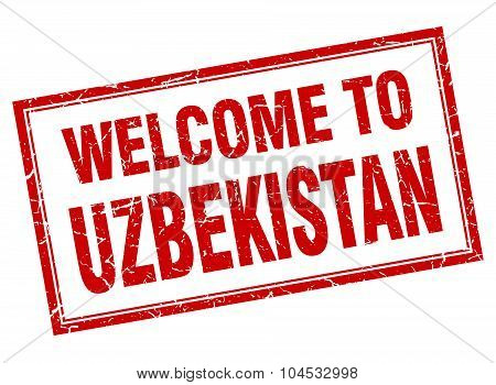 Uzbekistan Red Square Grunge Welcome Isolated Stamp