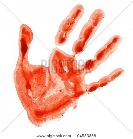 Red watercolor hand print isolated on white background, raster illustration