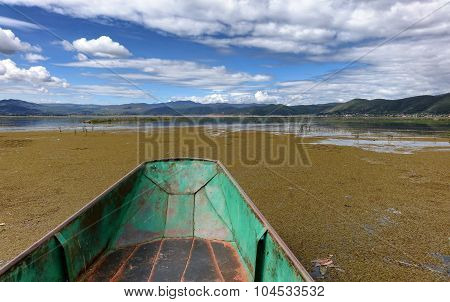 Old Small Fishing Boat On Wetlands