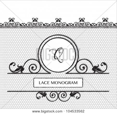 Letter Q black lace monogram, stitched on seamless tulle background with antique style floral border.