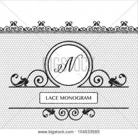 Letter N black lace monogram, stitched on seamless tulle background with antique style floral border.