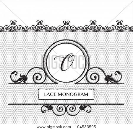 Letter ) black lace monogram, stitched on seamless tulle background with antique style floral border.